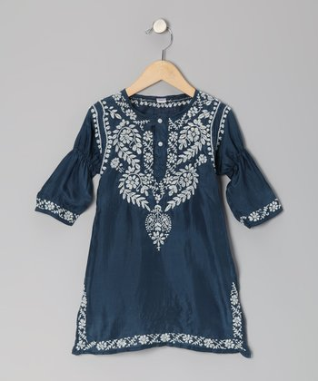 Navy & White Embroidered Silk Dress - Toddler & Girls