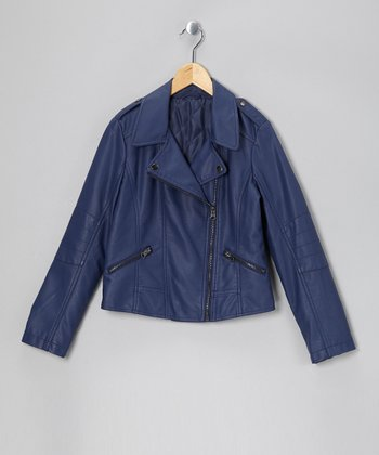 Dark Blue Moto Jacket