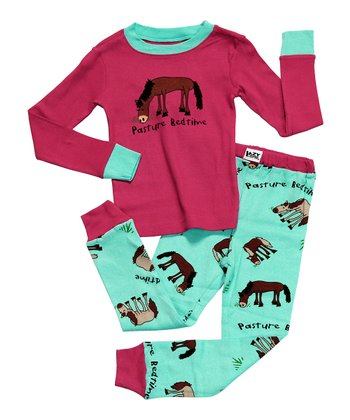 Pink & Aqua 'Pasture Bedtime' Pajama Set - Toddler & Kids