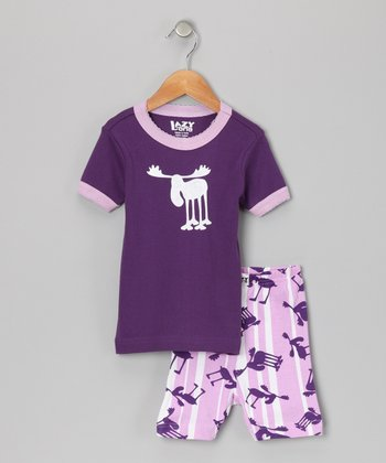 Purple Moose Stripe Short-Sleeve Pajama Set - Toddler & Girls