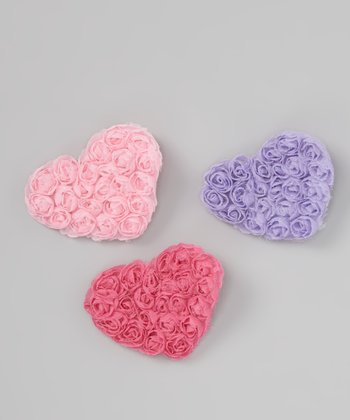 Light Pink, Pink & Lilac Rosette Heart Clip Set