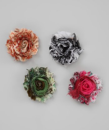 Pretty Print Shabby Rose Clip Set