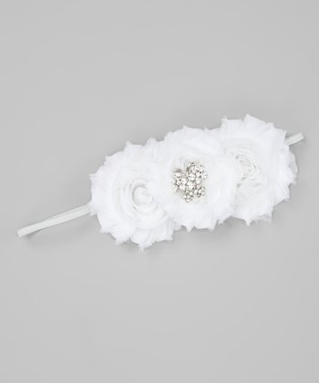 White Butterfly Deluxe Shabby Rose Headband