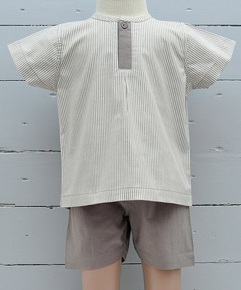 Taupe Frog Organic Henley & Shorts - Infant, Toddler & Boys