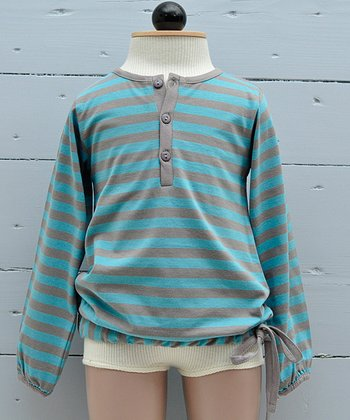 Nile & Taupe Stripe Organic Henley - Infant, Toddler & Boys