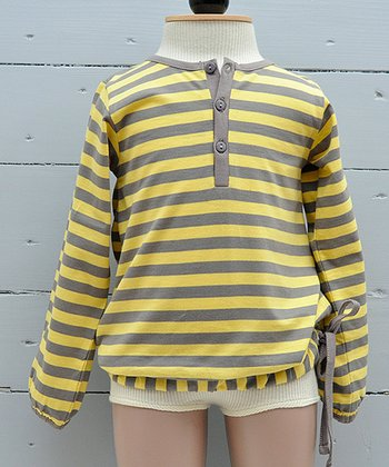 Custard Stripe Organic Henley - Infant, Toddler & Boys