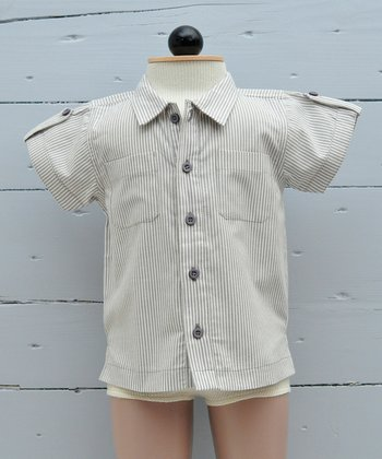 Taupe & Milk Stripe Organic Button-Up - Infant, Toddler & Boys