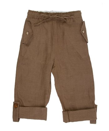 Mocha Linen Roll-Up Pants - Toddler & Boys