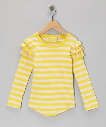 Yellow Stripe Ruffle Organic Tee - Infant, Toddler & Girls