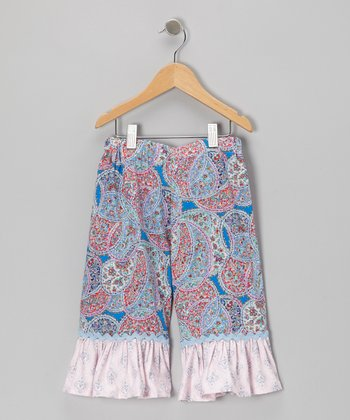 Blue Christina Ruffle Capri Pants - Toddler & Girls
