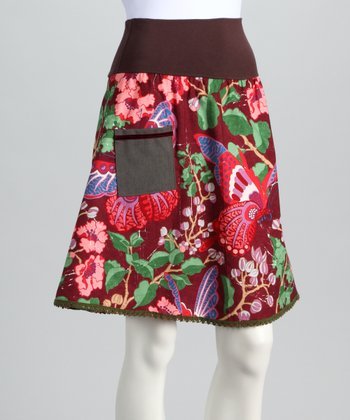 Maroon Deep Autumn Skirt - Women