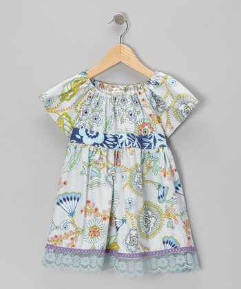 Blue Floral Mist Peasant Top - Toddler & Girls