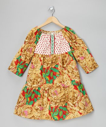 Gold & Red Floral Dress - Toddler