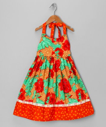 Burnt Orange Ming Halter Dress - Toddler & Girls