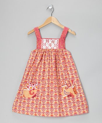 Peach Curly Heart Pinafore Dress - Toddler & Girls