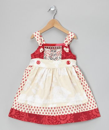 Red & White Knot Tie Jumper & Apron - Toddler & Girls