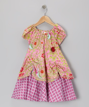 Pink Rosette Layered Peasant Dress - Toddler & Girls