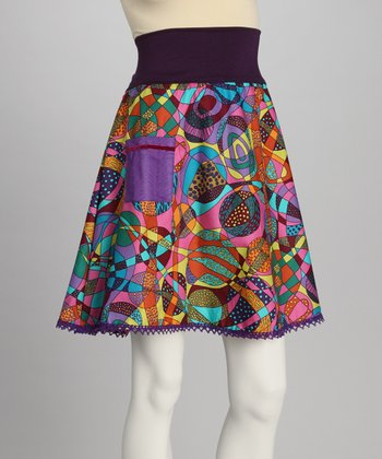 Purple Geometric Skirt - Women