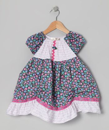 Pink & Blue Spanish Lilac Peasant Dress - Toddler & Girls