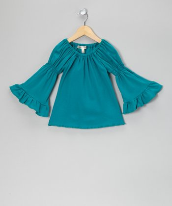 Totally Turquoise Peasant Top - Toddler & Girls