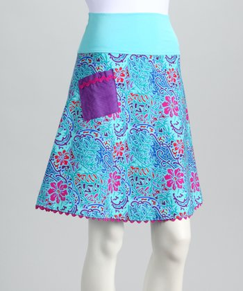 Blue Tropical Flower Skirt - Women