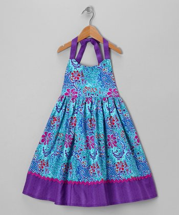 Blue Tropical Flower Halter Dress - Toddler