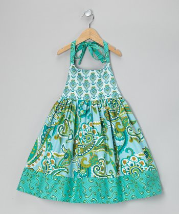 Turquoise Paisley Halter Dress - Toddler