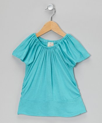 Turquoise Ruched Top - Toddler & Girls