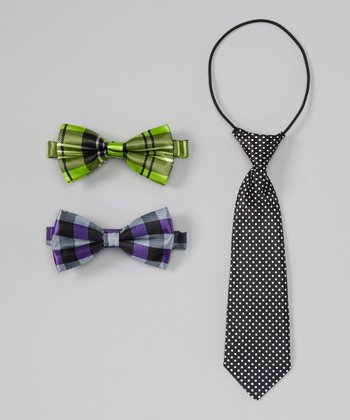 White Polka Dot Tie & Plaid Bow Tie Set