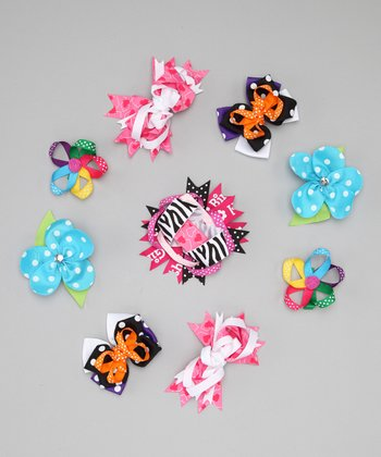 Blue Polka Dot Flower Clip Set
