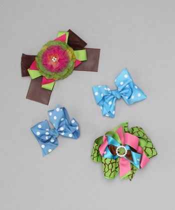 Blue Spring Polka Dot Bow Clip Set