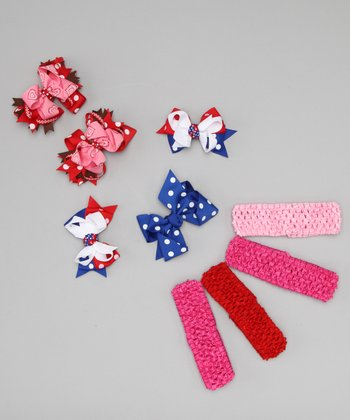 Pink Patriotic Bow Clip & Headband Set