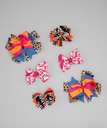 Peach & Pink Bow Clip Set