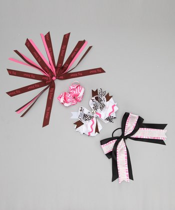 Pink Giraffe Bow Clip & Hair Tie Set