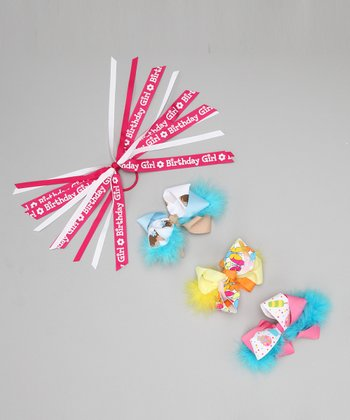Blue Marabou Birthday Bow Clip & Hair Tie Set