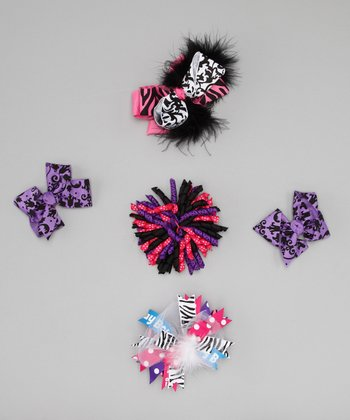 Pink Little Diva Bow Clip Set