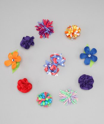 Brights Flower & Pom-Pom Clip Set