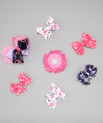 Pink Peace & Love Bow Clip Set