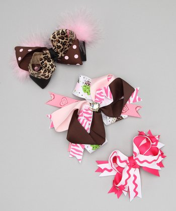 White Sweet Squiggles Bow Clip Set