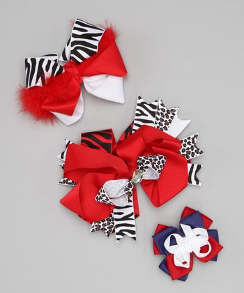 Red Sassy Apple Bow Clip Set