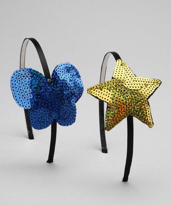 Blue & Yellow Star Sequin Headband Set