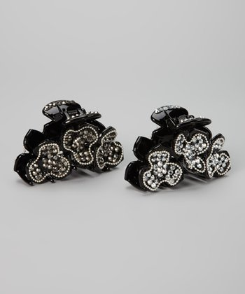 Black Rhinestone Flower Clip Set