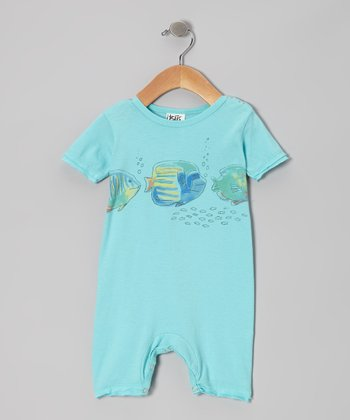 Pool Blue Coral Fish Organic Romper