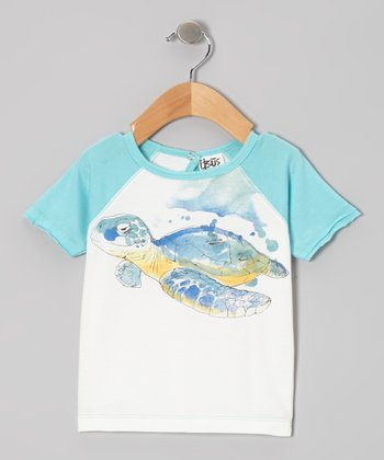 White & Blue Sea Turtle Organic Raglan Tee