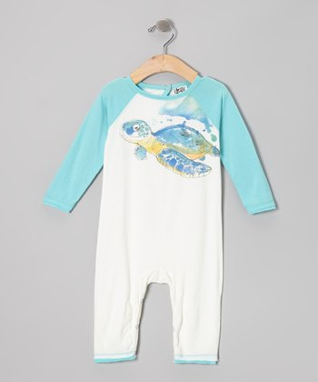 White & Blue Sea Turtle Organic Playsuit - Infant