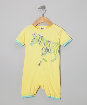Yellow & Blue Zebra Organic Romper - Infant