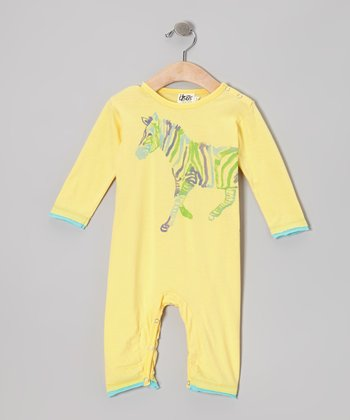 Yellow & Blue Zebra Organic Playsuit