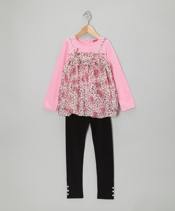 Hot Pink Polka Dot Bubble Tunic & Leggings - Toddler & Girls