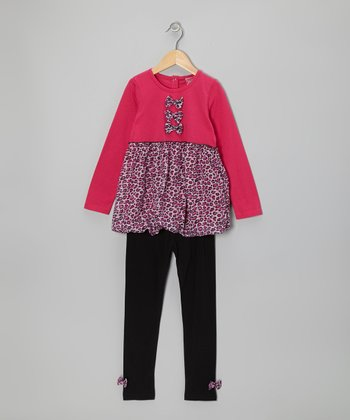 Pink Leopard Bubble Layered Tunic & Black Leggings - Toddler & Girls