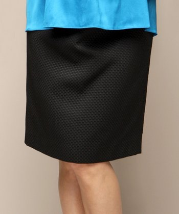 Black Basket Weave Blair Maternity Skirt
